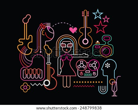 Music party vector illustration. Neon light silhouettes on black background.  - stock vector
