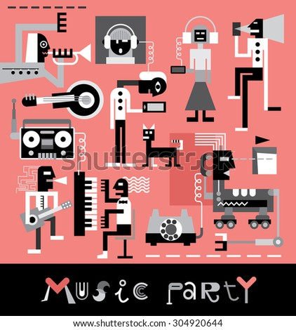 Music Party. Vector illustration with text.  - stock vector