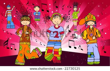 music people cartoon - stock vector