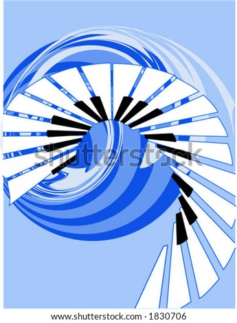 Music Piano Keys in Vector Format - Blue