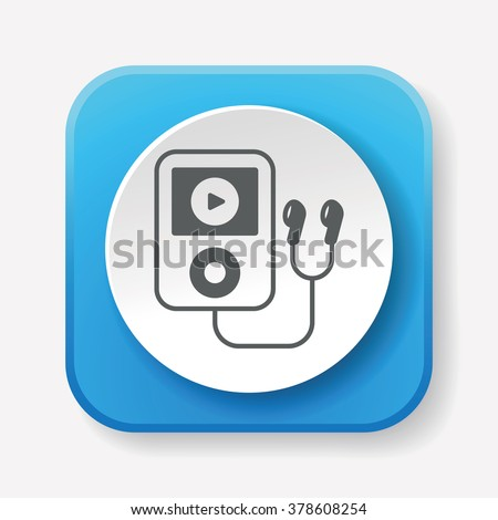 music player icon - stock vector