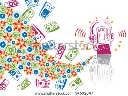 Music player in abstract collage. Format A4. Vector illustration. Isolated groups and layers. Global colors.