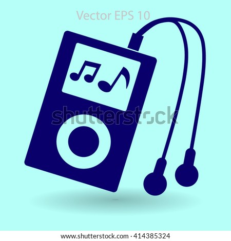 Music player with headphones picture - stock vector
