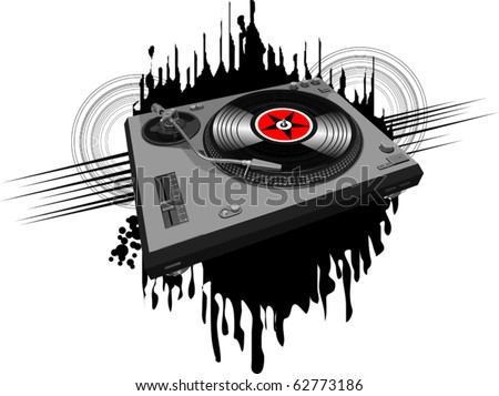 Music poster halftone design with DJ record player; - stock vector