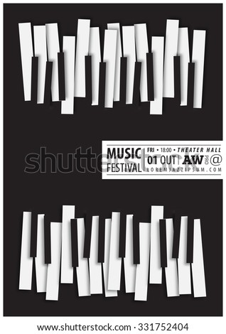 Music poster template. Vector flyer background with keyboard illustration. A4 size. - stock vector