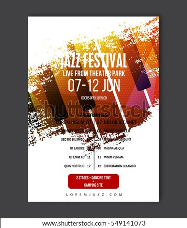 Music Poster Template. Vector Jazz Music Flyer Background With Keyboard  Illustration In Paint Brush Style