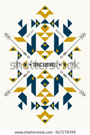 Music poster template. Vector tribal, ethnic, aztec, indian art elements. Flyer, banner, card, cover, fashion, apparel graphic design. - stock vector