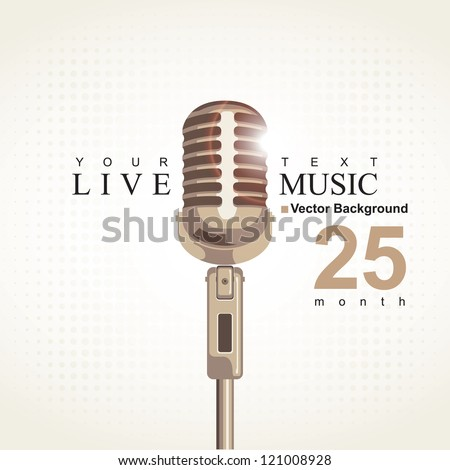 music poster with microphone - stock vector