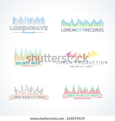 Music radio wave emblem elements set separated - stock vector
