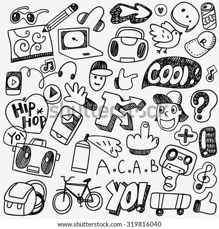 music rap graffiti doodles - stock vector