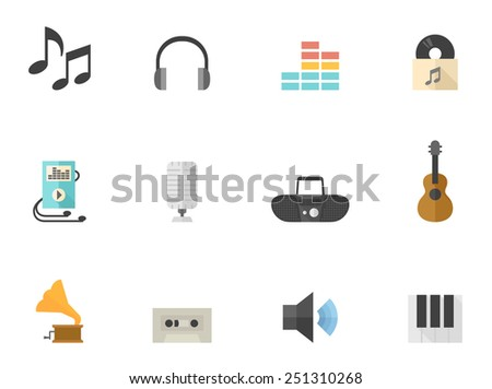 Music related icons in flat color style - stock vector