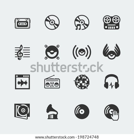 Music related vector icons set - stock vector
