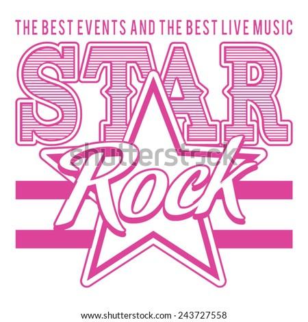 Music rock star typography, t-shirt graphics, vectors, girl - stock vector