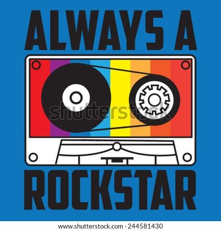 Music rock typography, t-shirt graphics, vectors - stock vector