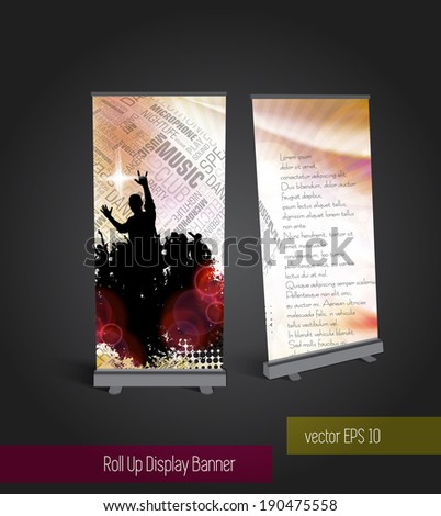 Music roll up banner display template for designers. vector eps 10 - stock vector