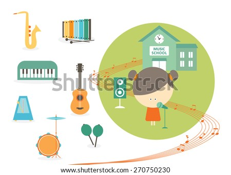 Music school, singer student with instruments - stock vector