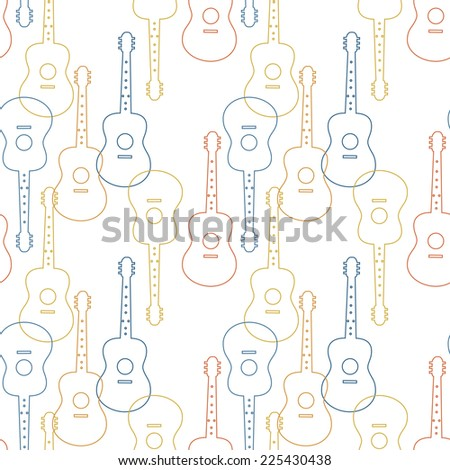 Music seamless patter with guitars vector illustration - stock vector