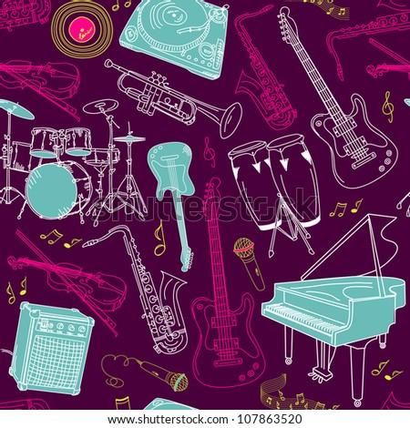 music seamless pattern - stock vector