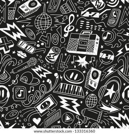 music - seamless pattern - stock vector