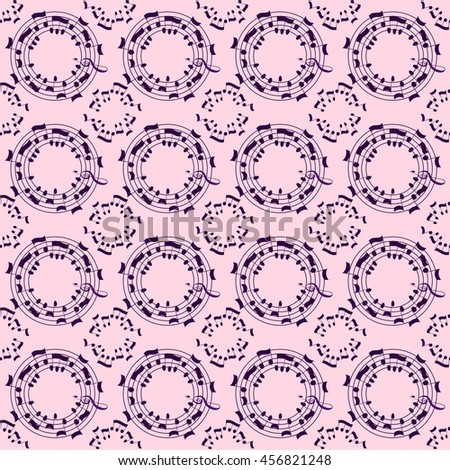 Music seamless pattern background. Vector musical symbols