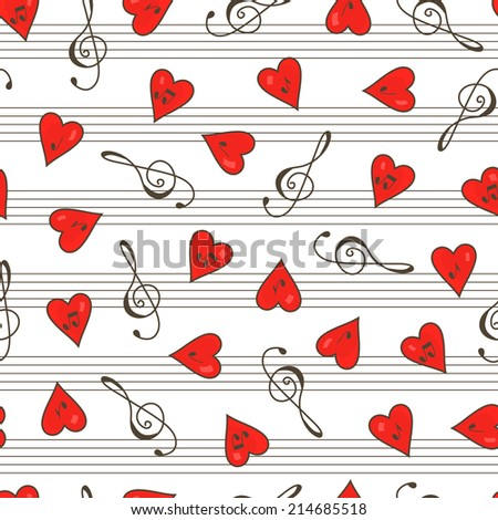 Music seamless pattern. Clef. Hearts. Notes. Valentine's Day. - stock vector