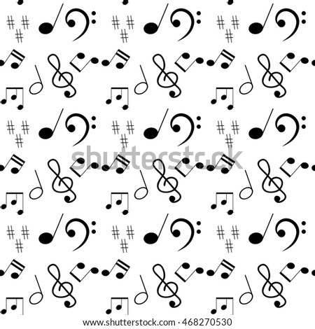 Music seamless pattern. Monochrome pattern with notes and treble clef. Vector illustration