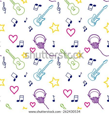 Music seamless pattern vector illustration - stock vector