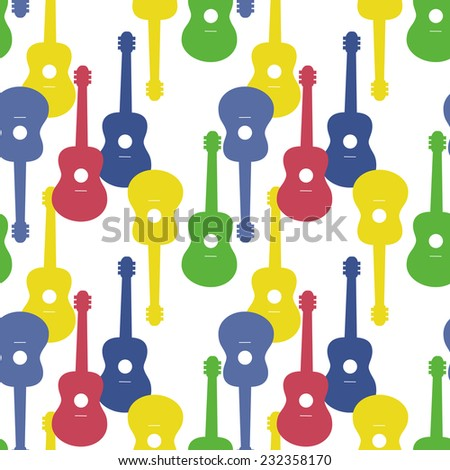 Music seamless pattern with guitars vector illustration - stock vector