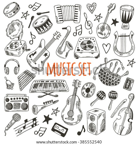 Music set. Hand drawn musical instruments for your design. Synthesizer, bass guitar, domra, gramophone,  bagpipe, microphone, vinyl, maracas, cassette, piano and other. - stock vector