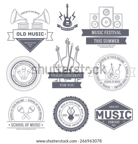 Music set label template of emblem element for your product or design, web and mobile applications with text. Vector illustration with thin lines isolated icons on stamp symbol.  - stock vector