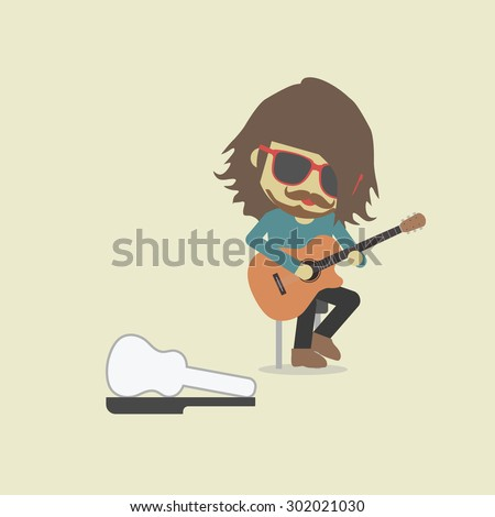 music show on street, pastel style - stock vector