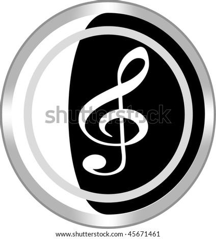 music sign icon button - stock vector