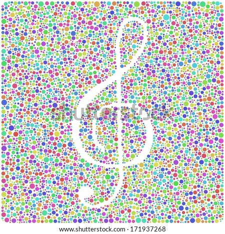 Music sign in a mosaic of harlequin circles. A number of 5386 little colored circles are accurately inserted into the mosaic. - stock vector