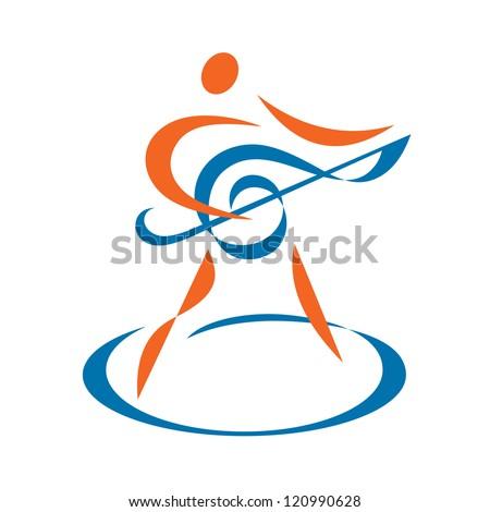 Music sign - vector logo template. Human character illustration. Design element.  - stock vector