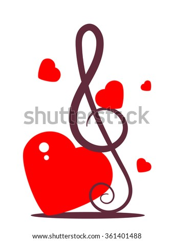 Music sign with hearts - stock vector