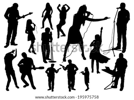 Music Silhouettes Set - stock vector