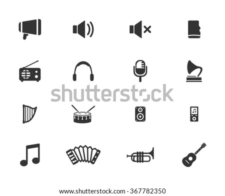 Music simple icons for web - stock vector