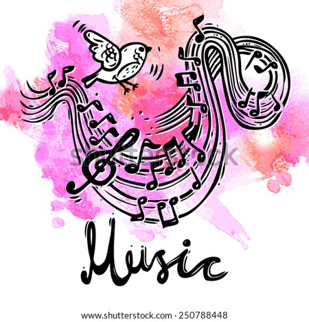 Music sketch background with bird and musical notes and treble clef vector illustration - stock vector