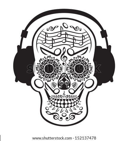 Music Skull - stock vector