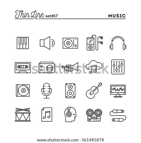 Music, sound, recording, editing and more, thin line icons set, vector illustration - stock vector