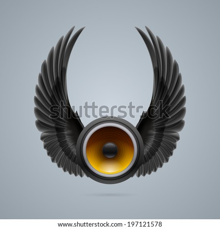 Music speaker with two crow wings up. - stock vector