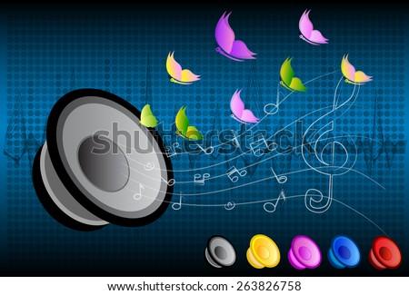 music speakers vector background - stock vector