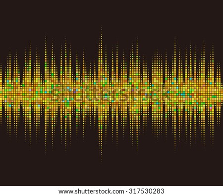 Music square waveform background. Gold halftone vector sound waves. You can use in club, radio, pub, party, DJ, concerts, recitals or the audio technology advertising background.