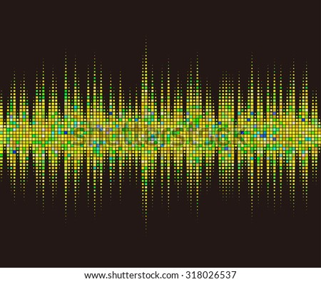 Music square waveform background. yellow halftone vector sound waves. You can use in club, radio, pub, party, DJ, concerts, recitals or the audio technology advertising background.