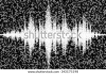 Music square waveform background.You can use in club, radio, pub, party, DJ, concerts, recitals or the audio technology advertising background. Black and white halftone vector sound waves.  - stock vector