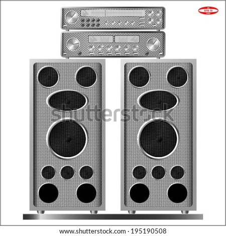 music stereo audio amplifier tuner vintage realistic with music speakers on the white background vector - stock vector