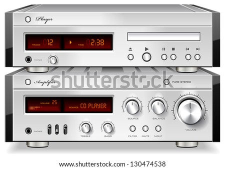 Music Stereo Audio Compact Disc CD Player with Amplifier rack, detailed vector