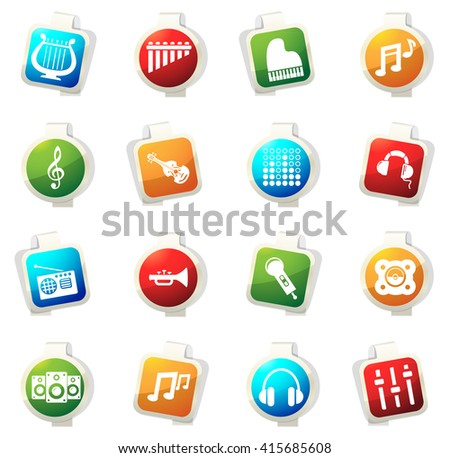 Music stickers label icon set for web sites