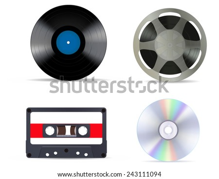 Music storage device - tape reel, vinyl record, compact tape cassette and compact disc - stock vector