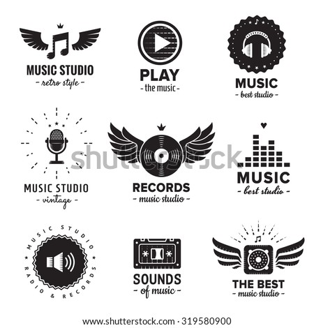Music studio and radio logos vintage vector set. Hipster and retro style. Perfect for your business design. - stock vector